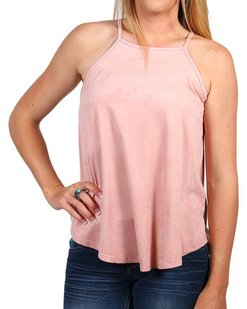 Moa Moa Women's Lace-Back Halter Tank Top, Pink, hi-res