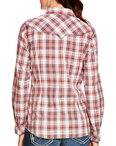 Ariat Women's Leona Top-stitch Plaid Long Sleeve Snap Shirt, Multi, hi-res