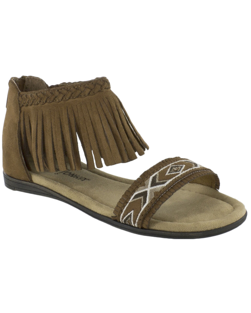 Minnetonka Girls' Coco Sandals, Brown, hi-res