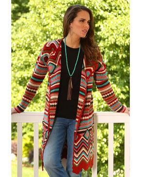 Wrangler Women's Long Sleeve Crochet Duster, Multi, hi-res