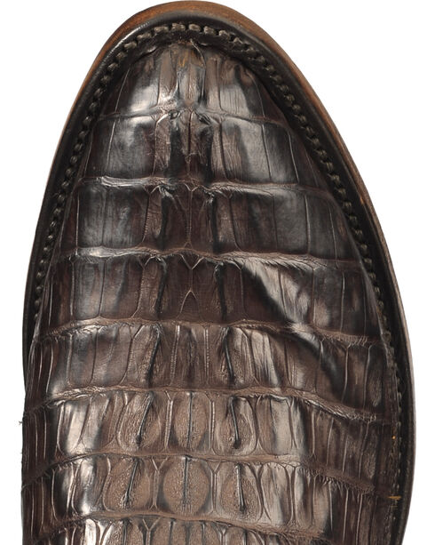 Lucchese Men's Dark Brown Franklin Hornback Caiman Tail Boots - Round Toe , Dark Brown, hi-res