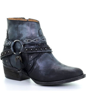 Corral Women's Black Studded Harness Ankle Boots - Round Toe , Black, hi-res
