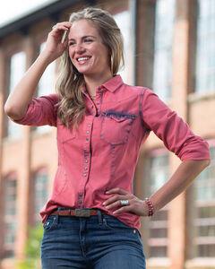 Ryan Michael Women's Pink Tinted Indigo Shirt, Pink, hi-res