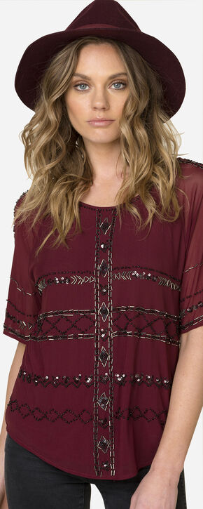 Miss Me Women's Scoop Sequined Top , Wine, hi-res