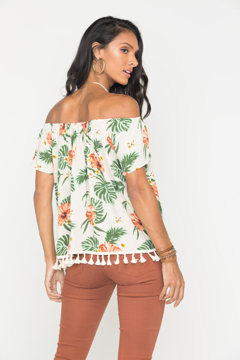Miss Me Women's Khaki Floral Print Short Sleeve Shirt, Khaki, hi-res