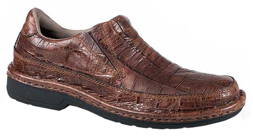 Roper Men's Performance Croc Print Slip-On Shoes, Brown, hi-res