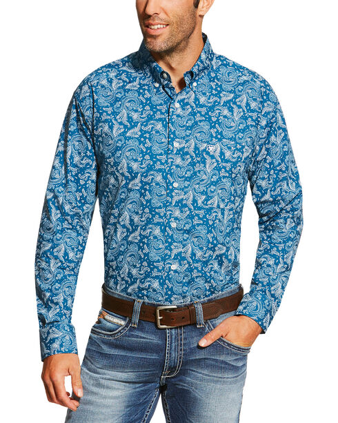 Ariat Men's Teal Desmond Paisley Shirt , Teal, hi-res