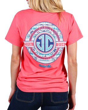 Cherished Girl Women's Coral JC Monogram Christian Tee - Plus, Coral, hi-res