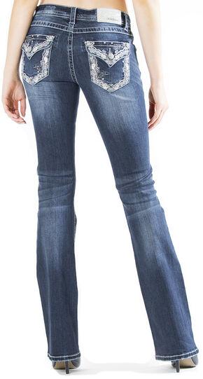 Grace in LA Women's Embellished Flap Pocket Easy Fit Bootcut Jeans , Indigo, hi-res