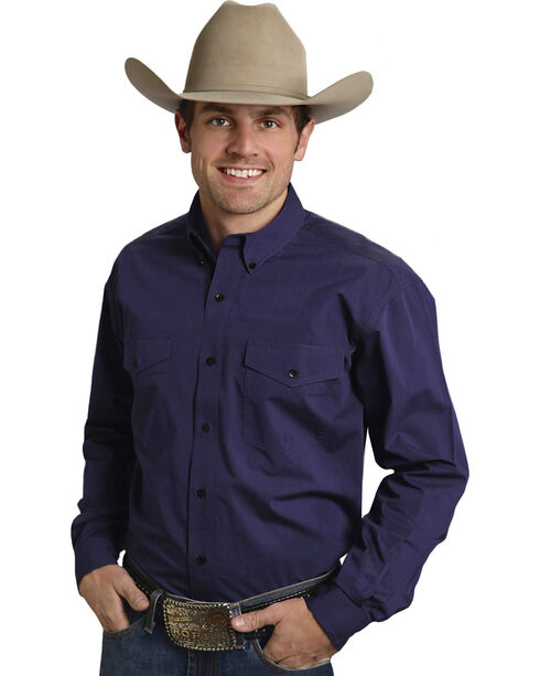 Roper Amarillo Collection Purple Western Shirt, Purple, hi-res