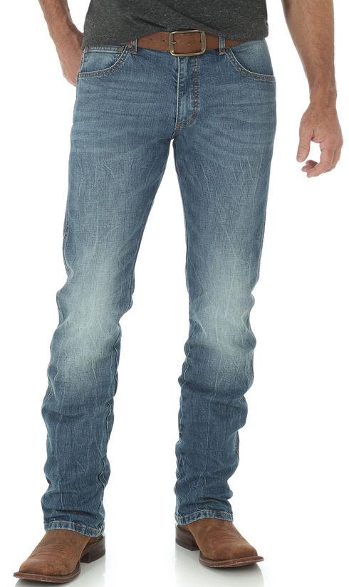 Wrangler Retro Men's Slim Fit Straight Leg Light Wash Jeans, Indigo, hi-res