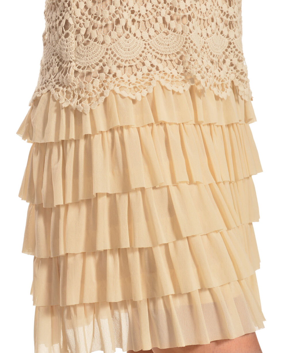 Young Essence Women's Lace Dress with Ruffle Detail, Beige/khaki, hi-res