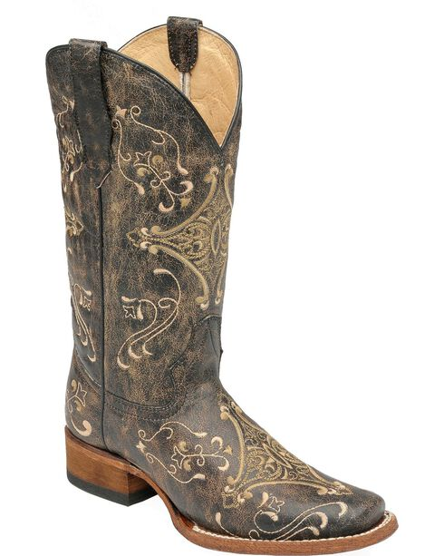 Circle G Diamond Embroidered Cowgirl Boots - Square Toe, Black, hi-res