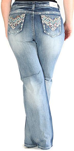 Grace in LA Light Wash Chevron Pocket Bootcut Jeans - Plus Size , Indigo, hi-res