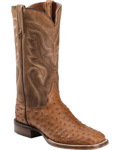 Dan Post Chandler Full Quill Ostrich Cowboy Boots - Square Toe, Saddle Brown, hi-res