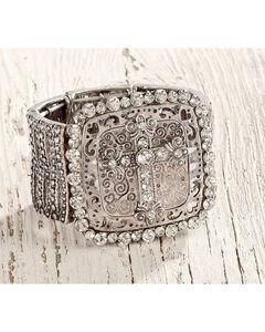 Shyanne Women's Large Cross Silver Stretch Bracelet , Silver, hi-res