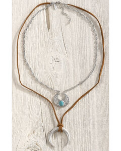 Shyanne Women's Crescent Layered Necklace, Silver, hi-res