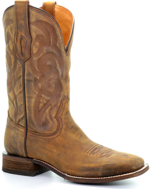 Corral Men's Brown Golden Embroidery Cowboy Boots - Square Toe , Lt Brown, hi-res
