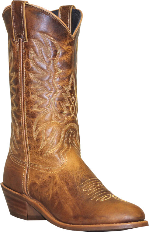 Abilene Sage Distressed Tan Cowboy Boots - Round Toe, Tan, hi-res
