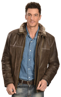 China Leather Men's Distressed Brown Double Collar Jacket, , hi-res