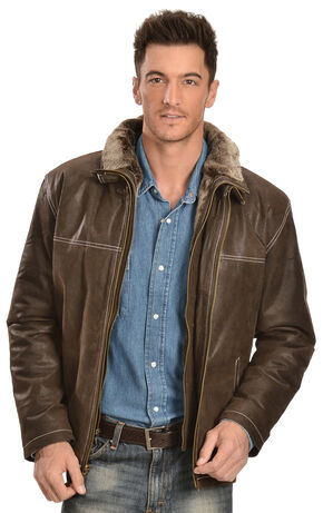 China Leather Men's Distressed Brown Double Collar Jacket, Brown, hi-res