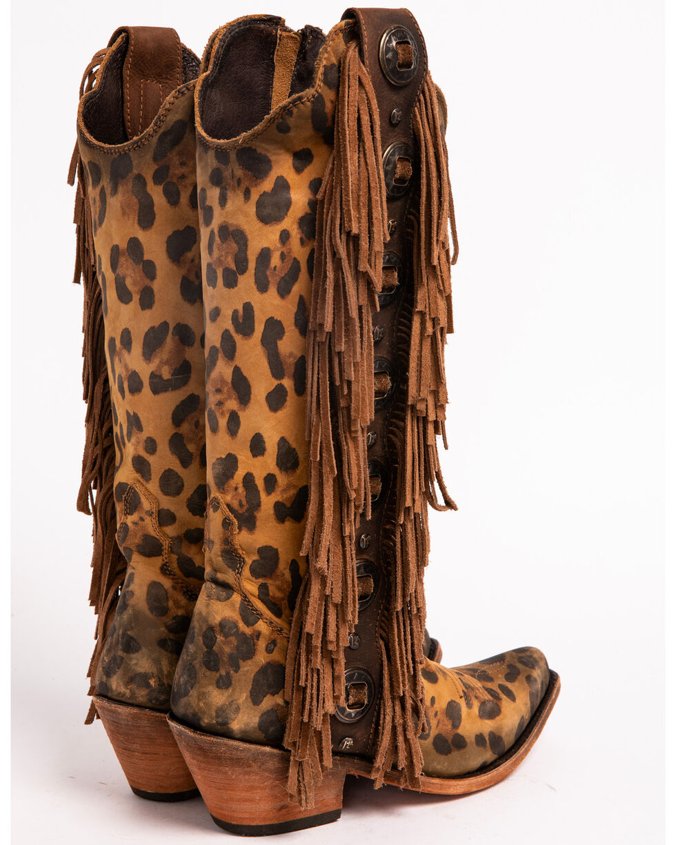 Liberty Black Women's Chita Miel Fringe Cowgirl Boots - Pointed Toe , Cheetah, hi-res