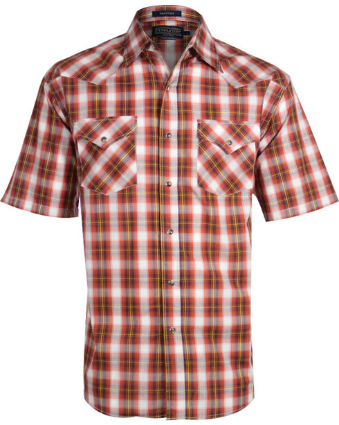 Pendleton Men's Plaid Short Sleeve Western Shirt, Rust Copper, hi-res