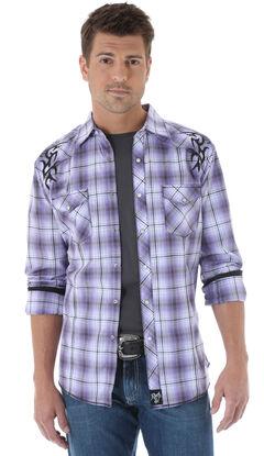 Wrangler Rock 47 Embroidered Purple Plaid Long Sleeve Shirt, Purple Pld, hi-res