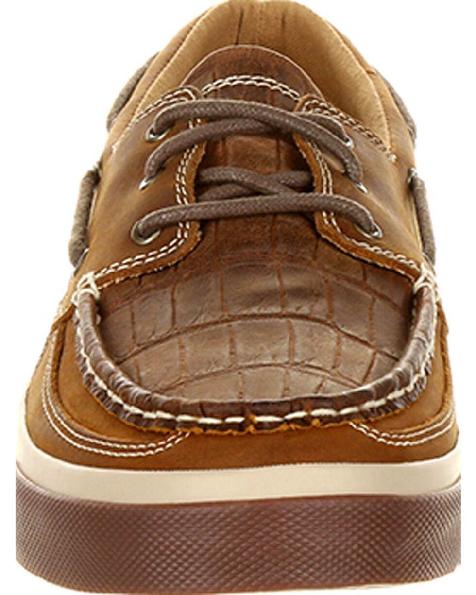 Durango Men's Brown Music City Gator Emboss Boat Shoes , Brown, hi-res