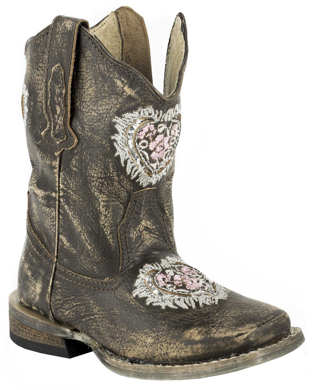 Roper Toddler Girls' Destiny Floral Heart Inside Zip Cowgirl Boots - Square Toe, Dark Brown, hi-res
