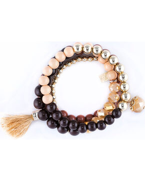 Sincerely Mary Women's Zurich 4 Piece Beaded Bracelet Set, Brown, hi-res