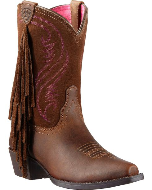 Ariat Youth Girls' Fancy Fringe Cowgirl Boots - Snip Toe, Distressed, hi-res