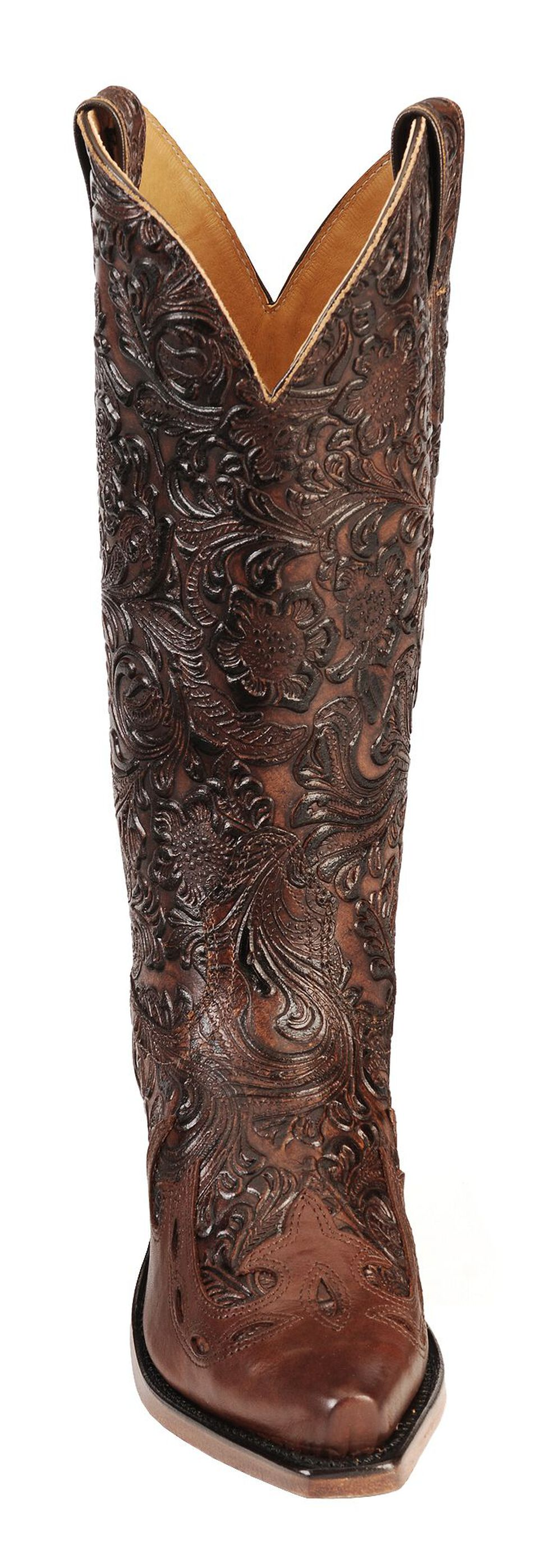 Boulet Hand Tooled Calf with Wingtip Cowgirl Boots - Snip Toe, Tan, hi-res