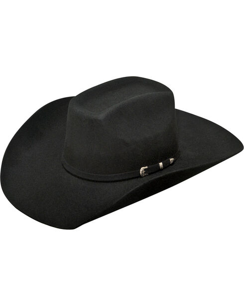 Ariat Men's 2X Wool Added Money Cowboy Hat , Black, hi-res