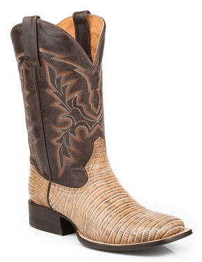 Roper Men's Faux Teju Lizard Mad Dog Goat Cowboy Boots - Square Toe, Tan, hi-res