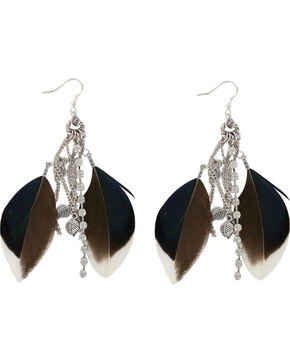 Shyanne Women's Feather Hook Earrings, Brown, hi-res