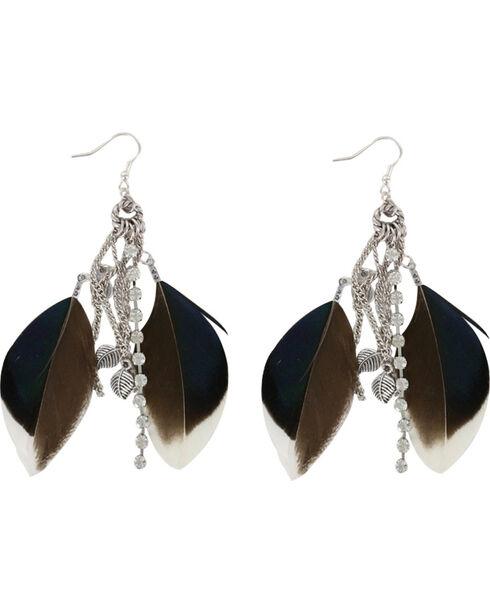 Shyanne Women's Feather Hook Earrings, Brown, hi-res