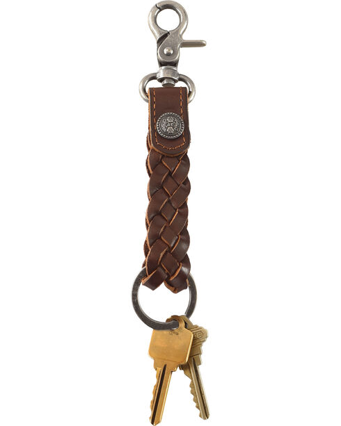 Cody James Braided Leather Floral Concho Keychain, Brown, hi-res