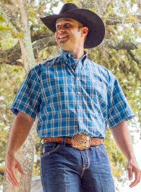 Cinch Men's Blue One Pocket Plaid Shirt - Big and Tall , Blue, hi-res