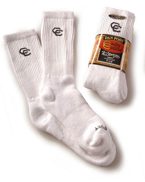 Dan Post mens Cowboy Certified crew socks (2-pack) - sizes 7-10, White, hi-res