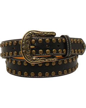 Nocona Women's Arrow Nailhead Leather Scroll Belt, Black, hi-res