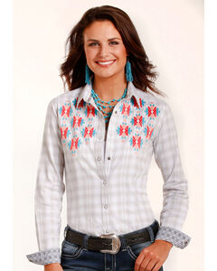 Rough Stock by Panhandle Women's White Antique Plaid Shirt , White, hi-res