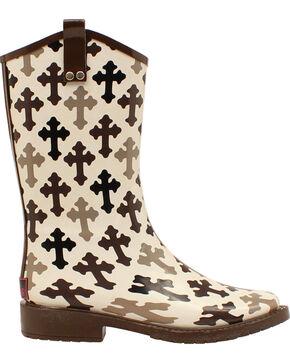 Blazin Roxx Caroline Hope Cross Rain Boots - Square Toe , Blk/white, hi-res
