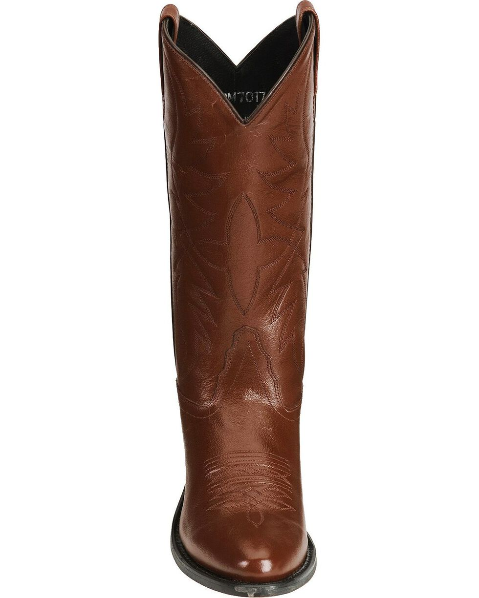 Old West Smooth Leather Cowboy Boots - Medium Toe, Black Cherry, hi-res