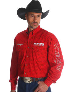 Wrangler Men's Red RAM Logo Western Shirt - Tall, Red, hi-res