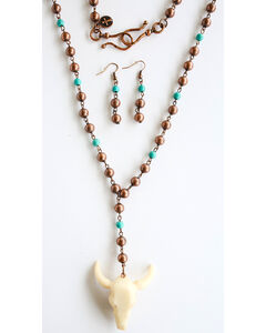 West & Co. Women's Copper Turquoise Cow Skull Jewelry Set, Rust Copper, hi-res