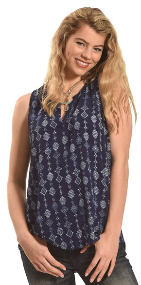 Derek Heart Women's Sleeveless Half Placket Top, Blue, hi-res