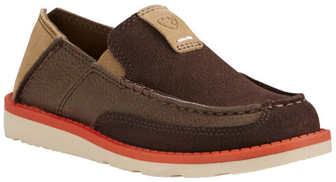 Ariat Kid's Chocolate Cruiser Shoes - Moc Toe, Chocolate, hi-res