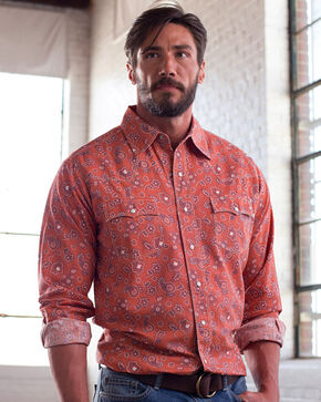 Ryan Michael Men's Clay Vintage Bandanna Print Shirt , Red, hi-res
