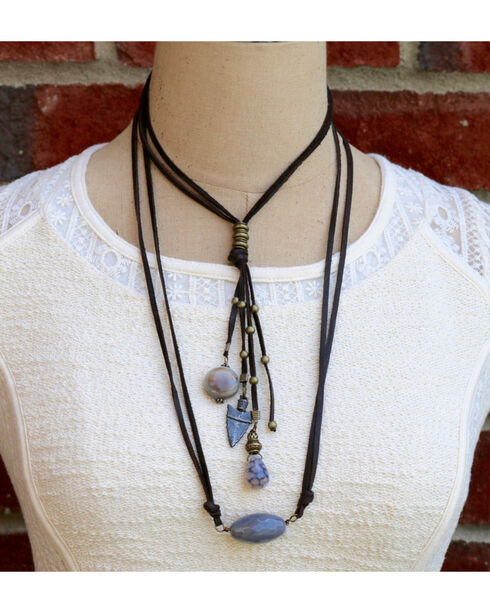 InspireDesigns Women's Reversible Stone and Leather Tassel Necklace , Black, hi-res